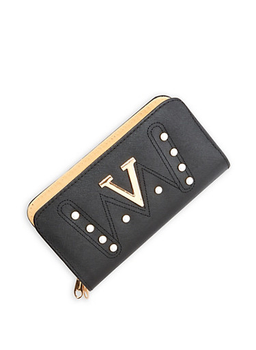 Faux Pearl Studded Double Zip Wallet,BLACK,large