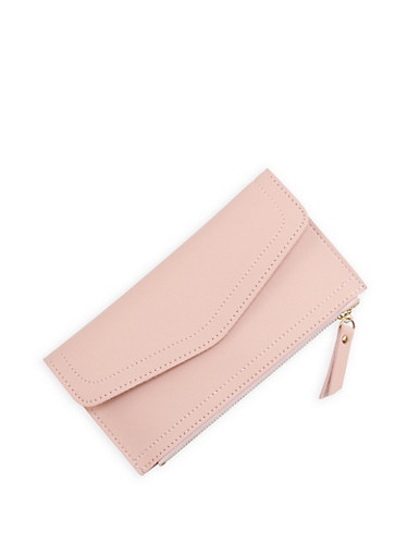 Stitch Detail Faux Leather Flap Wallet,BLUSH,large