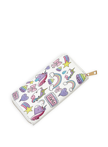 Unicorn Graphic Zip Wallet,WHITE,large