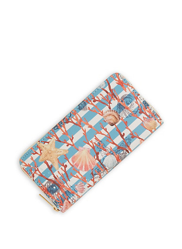 Striped Seashell Wallet,BLUE,large