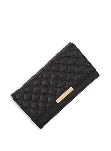 Quilted Kiss Lock Wallet,BLACK,large
