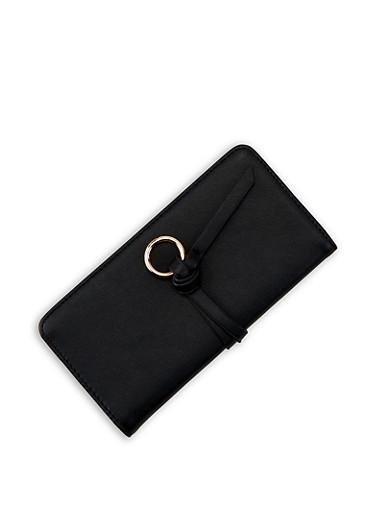 Metallic Ring Bifold Wallet,BLACK,large
