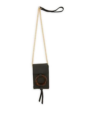 Tortoise Ring Detail Crossbody Bag,BLACK,large