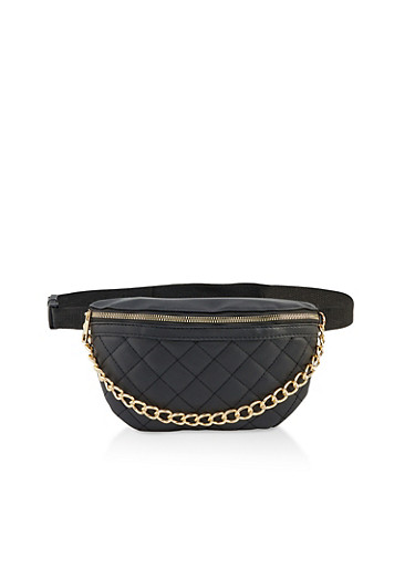 Quilted Chain Detail Fanny Pack,BLACK,large