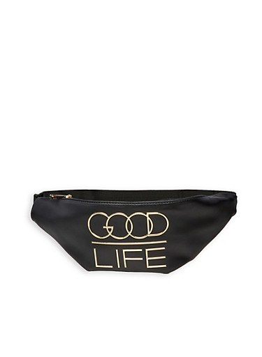 Good Life 3D Graphic Fanny Pack,BLACK,large