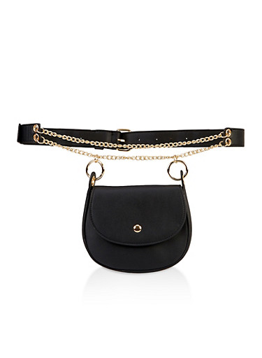 Chain Strap Faux Leather Belt Bag,BLACK,large