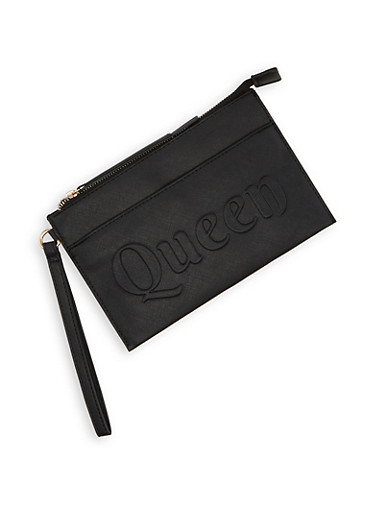 Queen Embossed Faux Leather Wristlet,BLACK,large