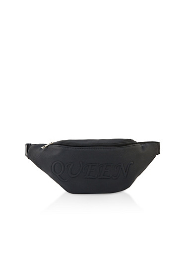 Embossed Queen Fanny Pack,BLACK,large