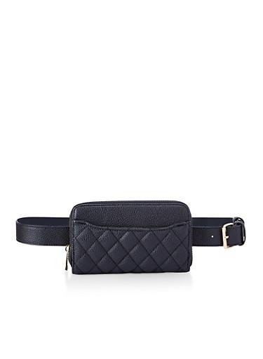 Quilted Wallet Belt Bag,BLACK,large