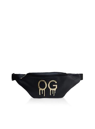 Metallic OG Drip Fanny Pack,BLACK,large