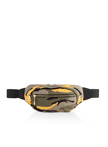 Colored Camo Fanny Pack,YELLOW,large