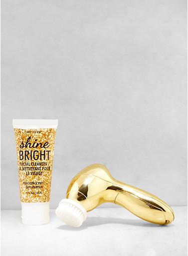Shine Bright Facial Cleansing Brush Set,GOLD,large