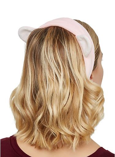 Plush Animal Ear Spa Headband,PINK,large