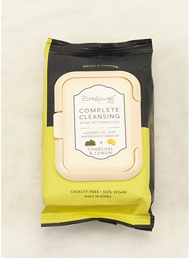 Charcoal and Lemon Cleansing Wipes,BLACK,large
