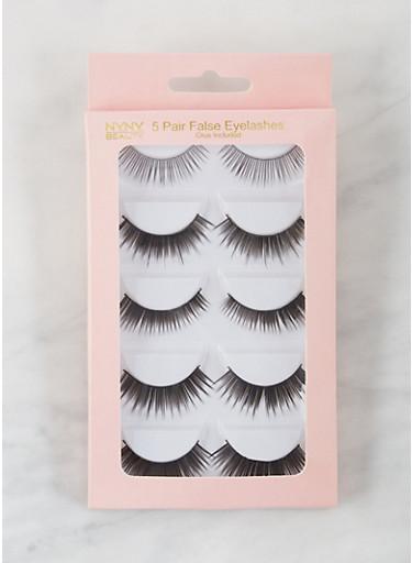 5 Pack False Eyelashes,BLACK,large