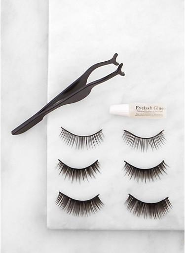 Set of 3 False Eyelashes,BLACK,large