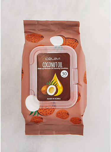 Coconut Oil Makeup Remover Cleansing Towelettes,BROWN,large