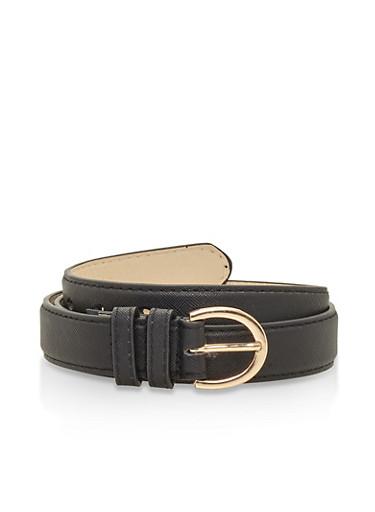 Textured Faux Leather Belt,BLACK,large