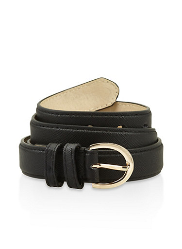 Plus Size Faux Saffiano Leather Belt,BLACK,large