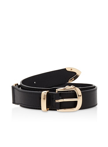 Interlocking Faux Leather Belt,BLACK,large