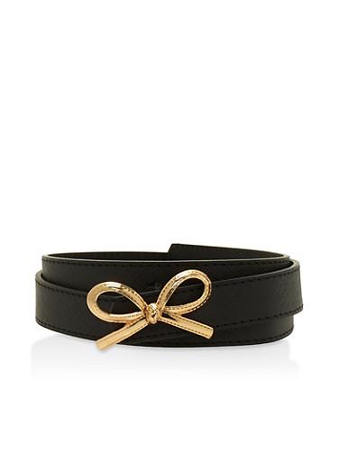 Faux Saffiano Leather Skinny Belt,BLACK,large