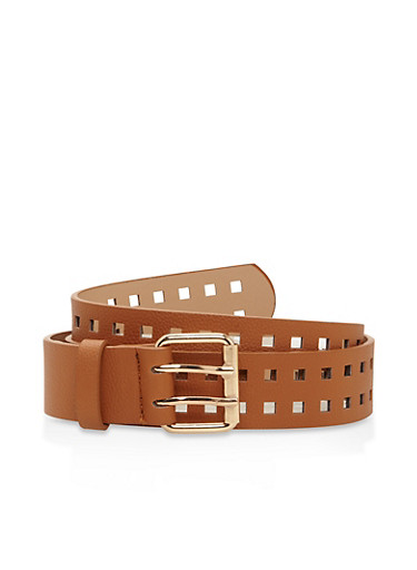 Laser Cut Faux Leather Belt,CAMEL,large