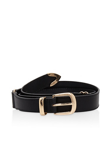 Plus Size Metallic Detail Belt,BLACK,large