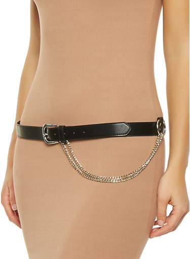 Chain Detail Skinny Belt,BLACK,large