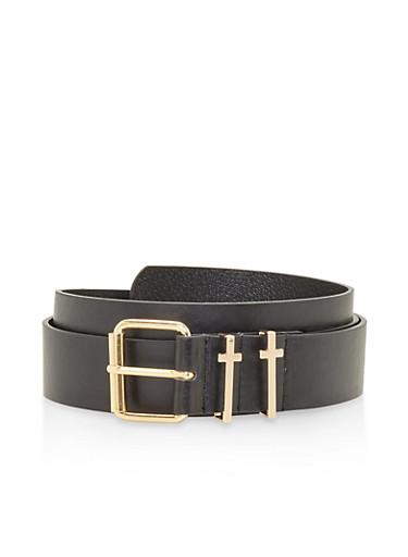 Plus Size Metallic Cross Loop Belt,BLACK,large
