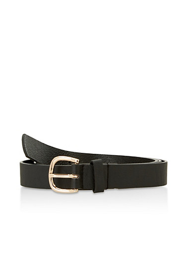 Plus Size Faux Leather Skinny Belt,BLACK,large