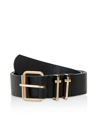 Metallic Cross Detail Faux Leather Belt,BLACK,large