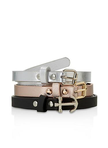 Set of 3 Faux Leather Skinny Belts,BLACK,large