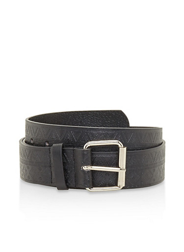 Plus Size Embossed Faux Leather Belt,BLACK,large