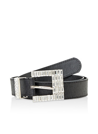 Jeweled Buckle Faux Leather Belt,BLACK,large