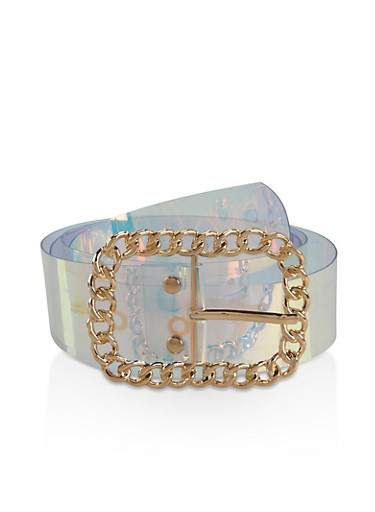 Metallic Chain Buckle Iridescent Belt,MULTI COLOR,large