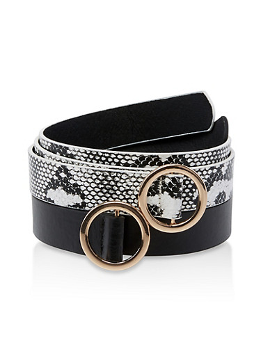 Solid and Snake Print Belt Duo,BLACK,large