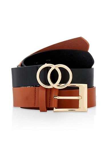 Set of 2 Metallic Buckle Belts,BLACK,large