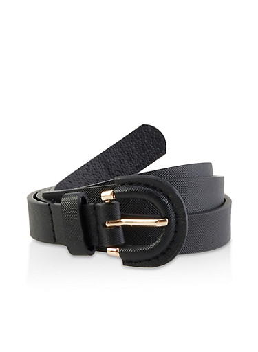 Faux Saffiano Leather Skinny Belt | 3128074392813,BLACK,large