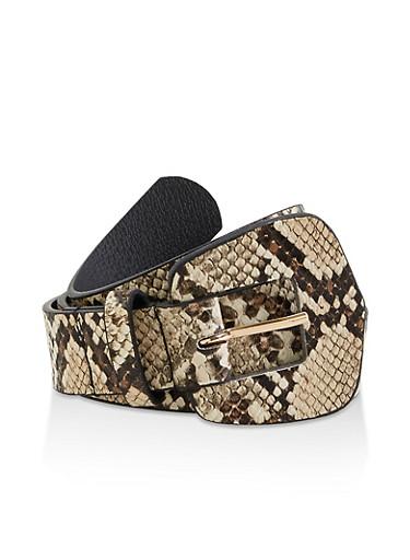 Snake Print Belt,NATURAL,large