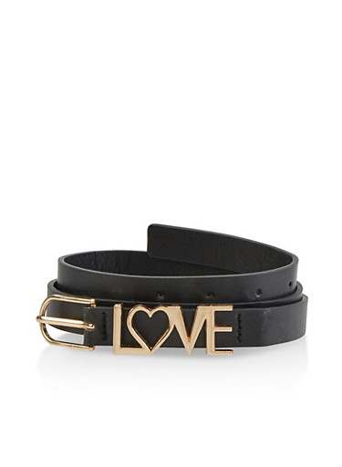 Love Buckle Skinny Belt,BLACK,large