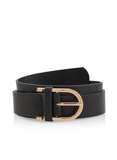 D Ring Buckle Belt,BLACK,large