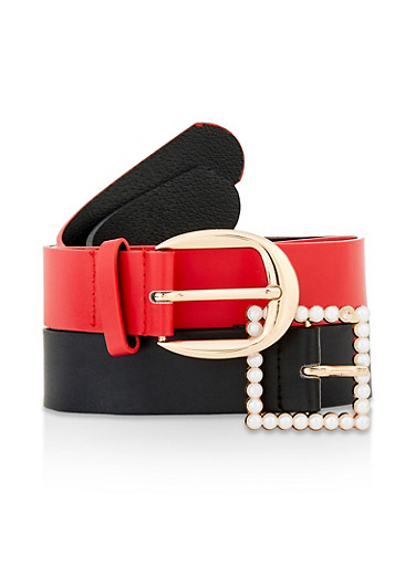 Mixed Buckle Belt Duo,BLACK,large