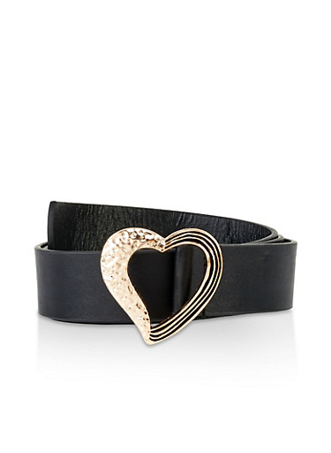 Textured Heart Buckle Belt,BLACK,large