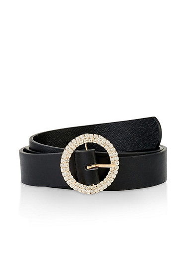 Rhinestone Circle Buckle Belt,BLACK,large