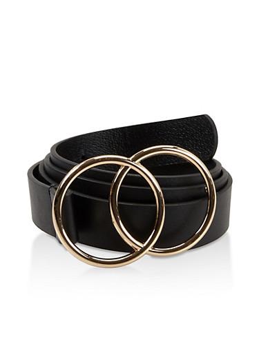 Plus Size Double Circle Buckle Belt,BLACK,large