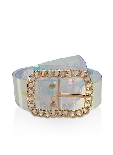 Plus Size Metallic Chain Buckle Iridescent Belt,MULTI COLOR,large