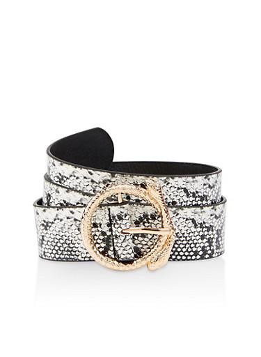 Round Snake Buckle Belt,BLACK/WHITE,large