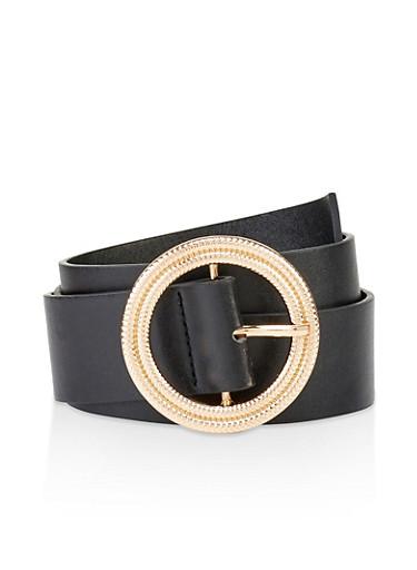 Circular Hammered Metallic Buckle Belt,BLACK,large