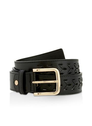 Interlock Braided Faux Leather Belt,BLACK,large