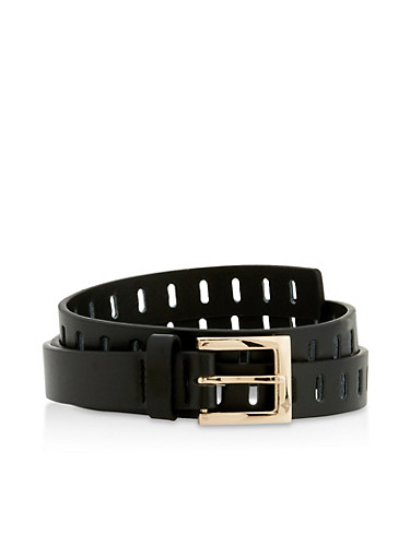 Perforated Square Buckle Belt,BLACK,large